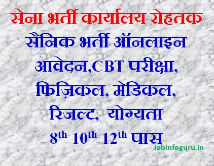 ARO Rohtak Army Bharti 01 to 06 Nov 2019 online, physical